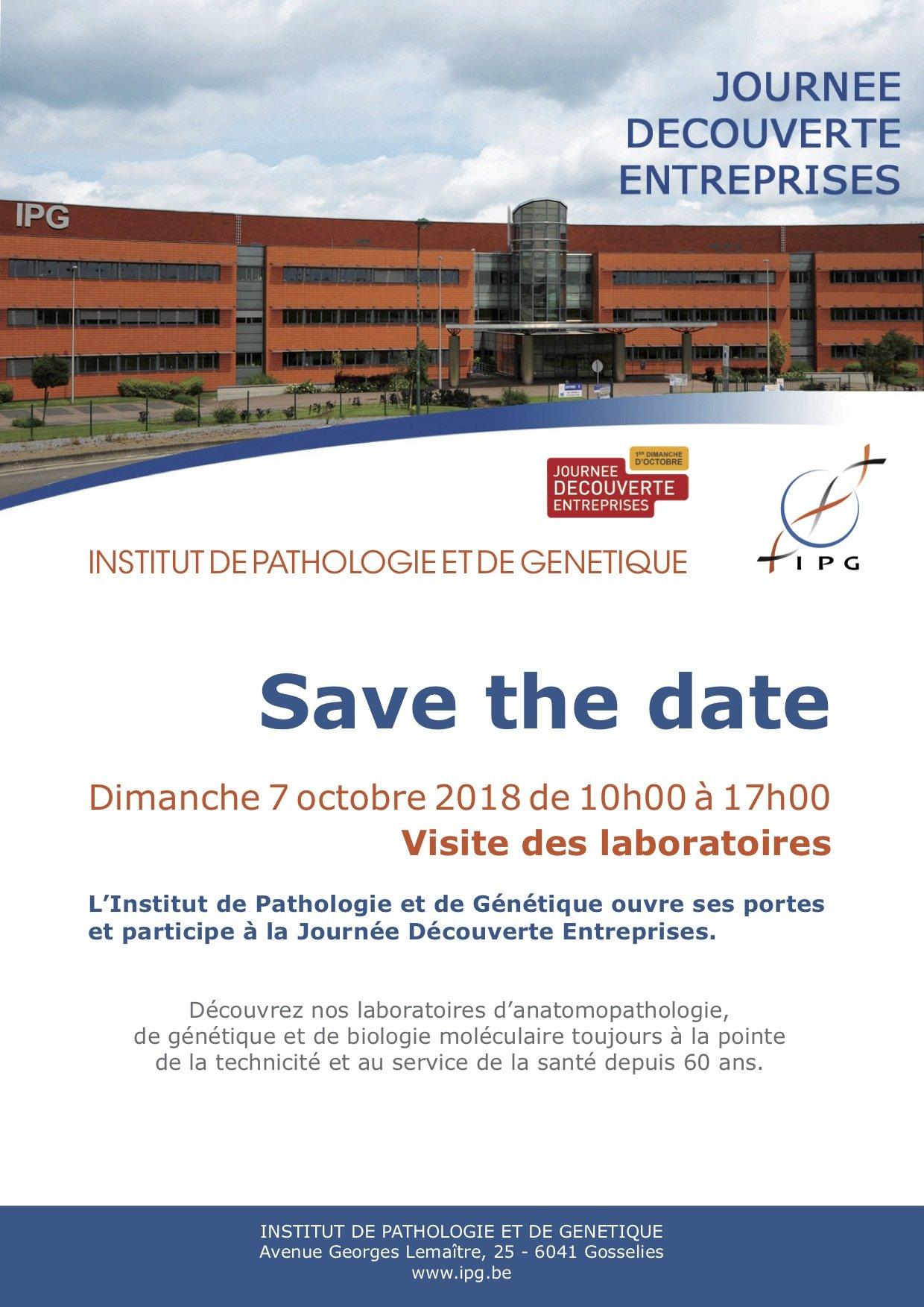 Découvrez les laboratoires de l'IPG à Gosselies le 7 octobre
